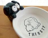 Bailey Bowl, Ceramic Pet Dish - 'THIRSTY'