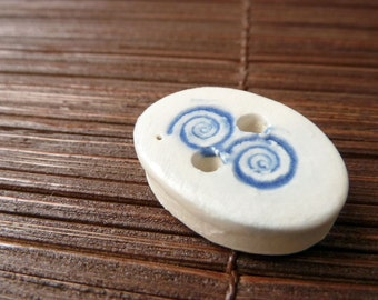 SALE ITEM -- Porcelain Oval Buttons with Spiral (Set of 6)