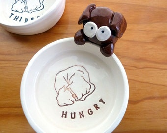 Bailey Bowl, Ceramic Pet Dish - 'HUNGRY'