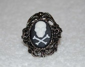 Death Noir Skull and Crossbones Cameo Ring
