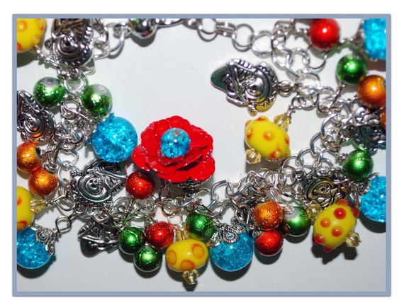 RESERVED FORJULIE Day of the Dead Guitar Playing Skeleton Charm Bracelet