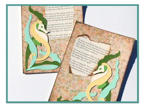 Seahorse Poetry Card Set Art Nouveau Style