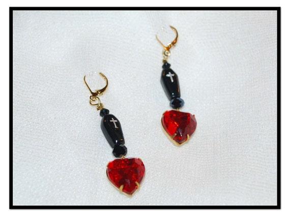 Mina's Heart Earrings Vintage Czech Glass