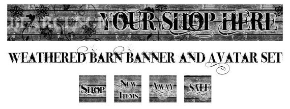 Weathered Barn Etsy Shop Banner with Matching Avatar Set