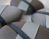 Buttons - Extra Large Fabric and Ribbon covered buttons - Shades of Grey - set of 4