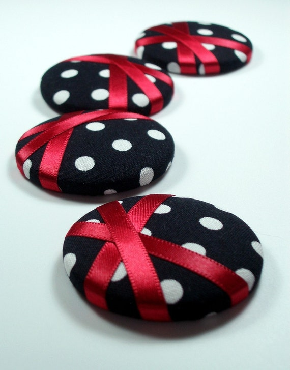 Giant Buttons - Red Polka - set of 4