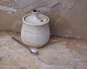 SALE - White Handmade Stoneware Ceramic Pottery Salt Crock