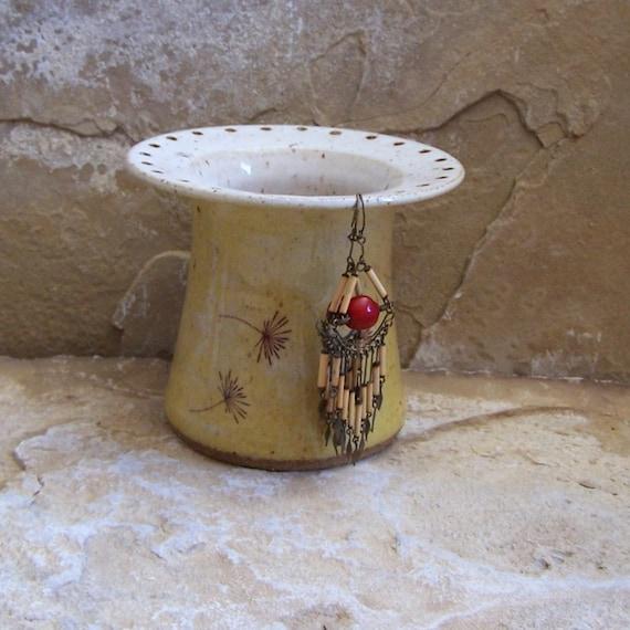 SALE - Sun Yellow Handmade Stoneware Ceramic Pottery Earring and Jewelry Keeper - Dandelion