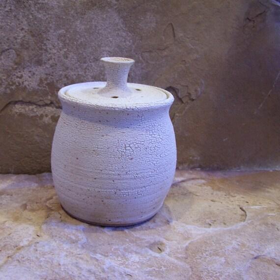 White Stoneware Ceramic Pottery Compost Crock