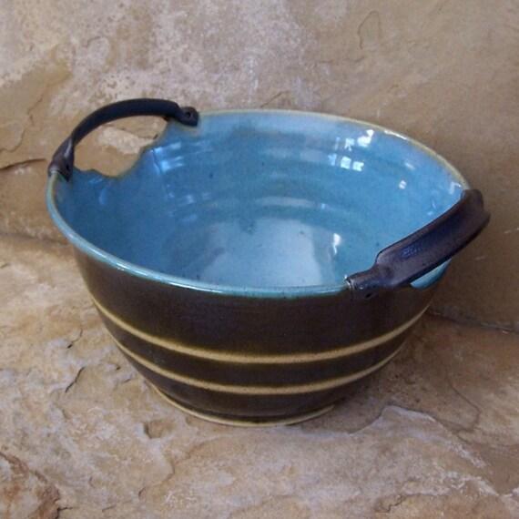 Gun Metal Grey and Icy Blue Stoneware Ceramic Pottery Serving Bowl
