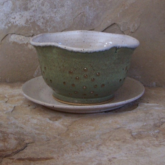 SALE - Desert Moss Handmade Stoneware Ceramic Pottery Berry Bowl or Mini Colander with Plate - Butterfly
