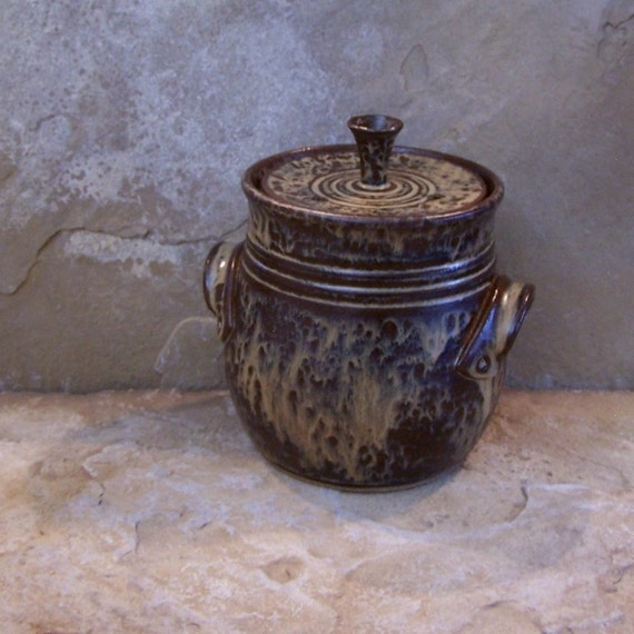 Burnt Iron Brown Handmade Stoneware Ceramic Pottery Garden Compost Crock