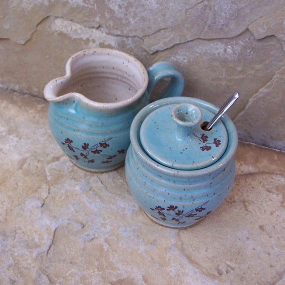 Blue Celadon Handmade Stoneware Ceramic Pottery Sugar and Creamer Set - Ginkgo