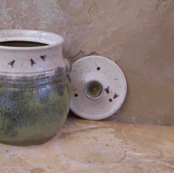 Desert Moss Green and White Stoneware Ceramic Pottery Compost Crock