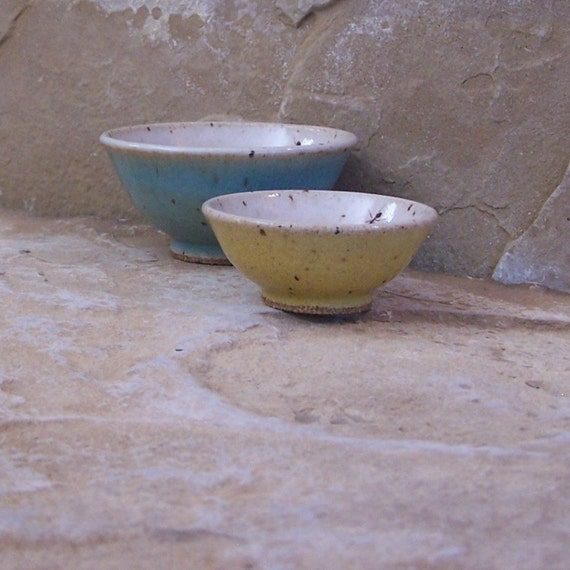 Pair of Teeny Wee Stoneware Ceramic Pottery Bowls