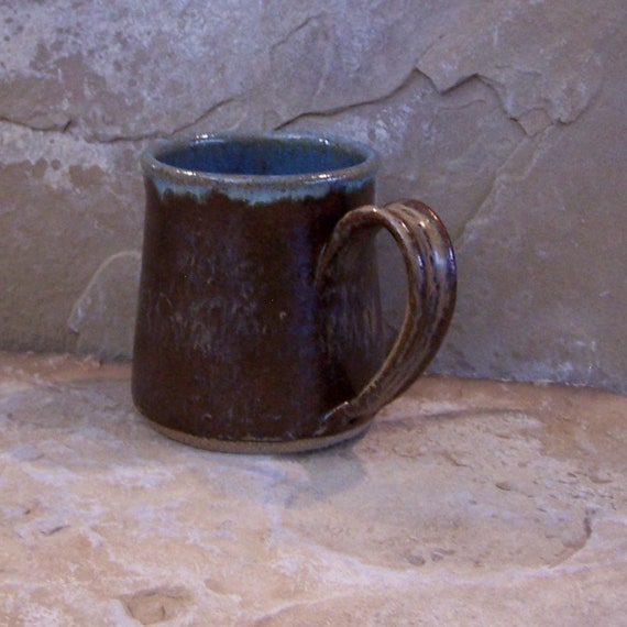 Burnt Iron Brown and Icy Blue Handmade Stoneware Ceramic Pottery Mug Cup