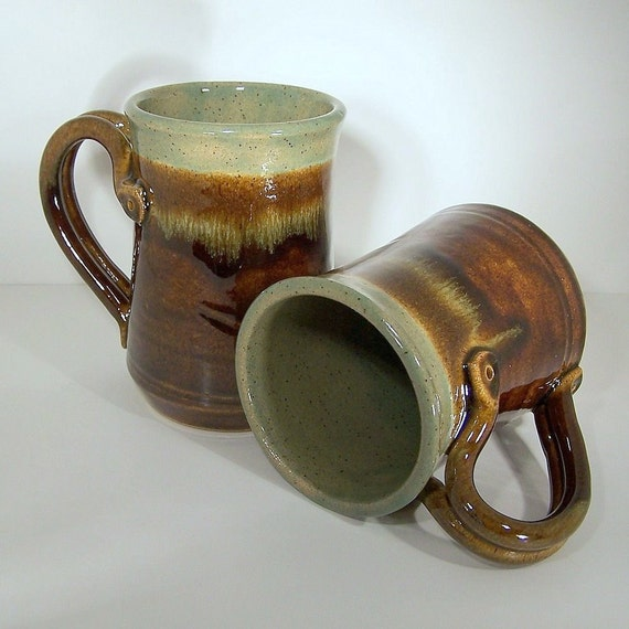 Celadon Topped Rich Brown Stoneware Steins