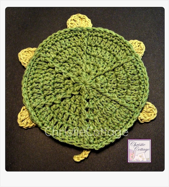 Turtle Bath Mitt Crochet Pattern 009 - PDF