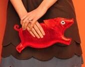 Orwell Clutch - Red Pig Purse