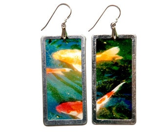 Koi Fish Photo earrings with sterling ailver earwires