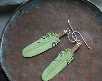 small mint green leather feather earrings