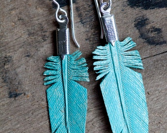 mini leather feather earrings - dusty turquoise