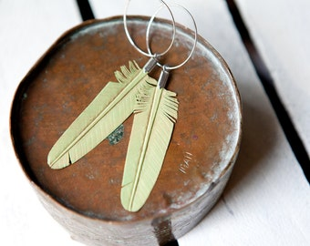 mint leather feather earrings on sterling silver hoops