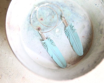 turquoise leather feather earrings on sterling silver hoops