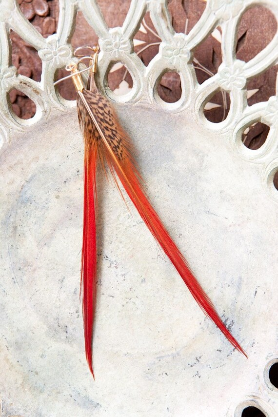 warrior - very long red feather earrings