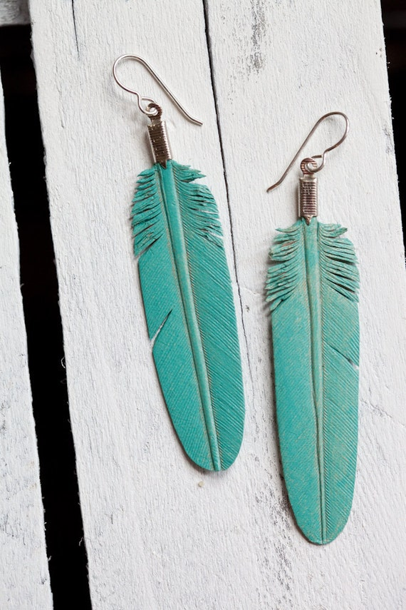 leather feather earrings - hand carved - dusty turquoise