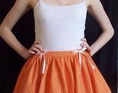 Polka dot gathered skirt with ribbons