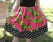 Echino Strawberries print and Polka dot retro skirt
