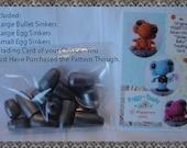 24  Steel SINKERS for the Sinker Baby Crochet Pattern Line for US ONLY (not Hawaii)