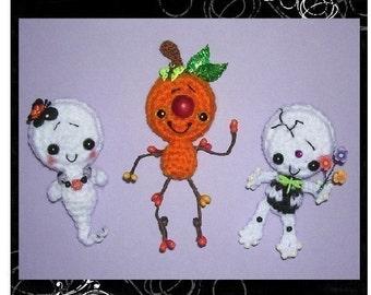 Halloween Ghost Skeleton Pumpkin Man Digital PDF Crochet Patterns Plus Free Bat Pattern