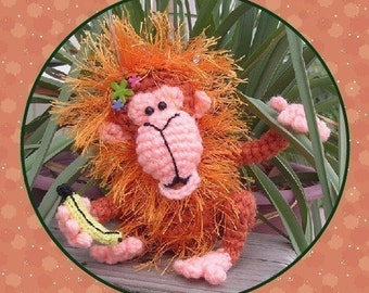 Orangutan Monkey Digital PDF Crochet Pattern Ape Gorilla Doll Toy Milk Cap Cutie