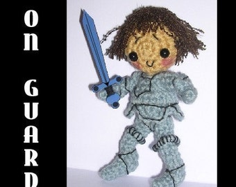 Medieval Knight Doll Toy Crochet Pattern in Digital PDF format with Armor, Helmut and Sword