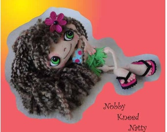 Digital PDF Felt Nobby 'Knee-d Natty Bendable Doll Sewing Pattern with Inner Tube Flip Flops Outfits