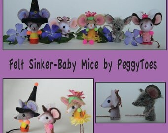 FELT Sinker Baby Digital PDF Pattern With Instructions For 5 Mice Mouse Rats Miniatures Halloween Witch