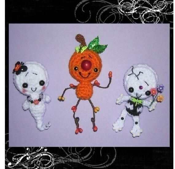 SALE Halloween Ghost Skeleton Pumpkin Man Digital PDF Crochet Patterns Plus Free Bat Milk Cap Cuties by Peggytoes