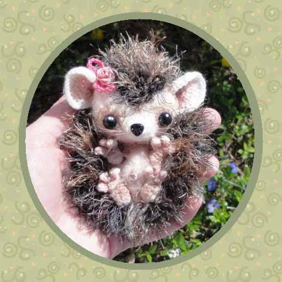 Ginny the Baby HedgeHog Hedge Hog 26th Milk Cap Cutie PDF Digital Crochet Pattern by Peggytoes