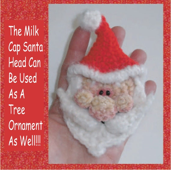 Santa Ornament AND Advent Countdown Calendar Digital PDF Crochet Pattern 23rd Milk Cap Cutie Pattern