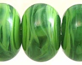 Green Glass Lampwork Bead Set  of 6 Small 11x7mm Spearmint