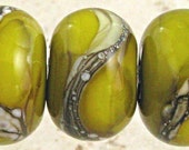 Green Lampwork Glass Bead Set of 6 SRA Handmade with Silvered Ivory Organic Web Small 11x7mm Olive