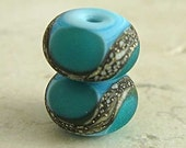 Handmade Glass Lampwork Bead Pair Etched for Frosted Finish Small 11x7mm Teal on Turquoise Blue Velvet