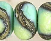 Green  Etched Lampwork Glass Bead Set of 6 with Organic Webbed Silvered Ivory Small 11x7mm Little Sirona Velvet