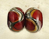 Handmade Glass Lampwork Bead Pair Small Webbed Silvered Ivory 11x7mm Red