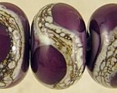 Purple Glass Lampwork Beads Set of 6 Handmade Small 11x7mm Violet