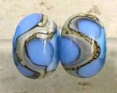 Handmade Lampwork Glass  Bead Pair with Organic Web of Silvered Ivory Small 11x7mm Blue on Blue