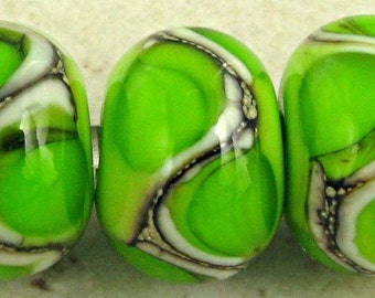 Handmade Lampwork Glass Bead Set of 6 with Organic Webbed Accents Small 11x7mm Bright Green
