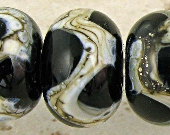 Black Lampwork Glass Bead Set of 6 with Organic Silvered Ivory Web Small 11x7mm